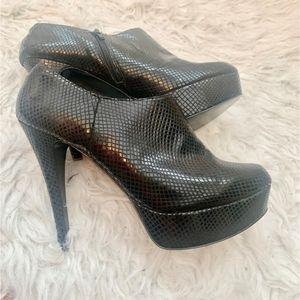 Black Faux Croc Bootie Heels